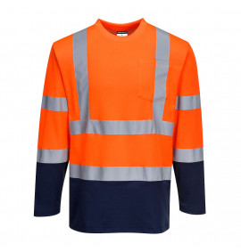 Portwest Two-Tone Long Sleeved Cotton Comfort T-Shirt