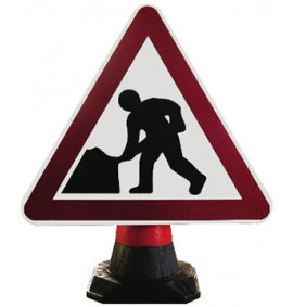 Road Works Cone Sign