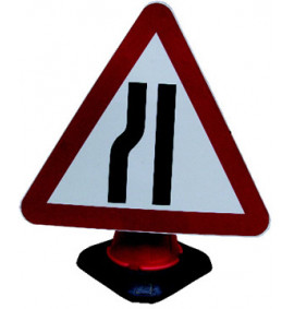 Road Narrows Left Cone Sign
