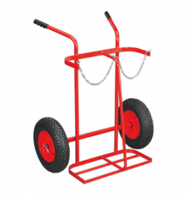 Welding Bottle Trolley with Pneumatic Tyres - 2 Bottle