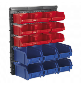 Bin Storage System Wall Mounting 15 Bins